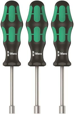 "Wera 3 Pce Kraftform 10mm,13mm,7/16"" Hollow Shaft Nut Spinner Driver Set 134275"