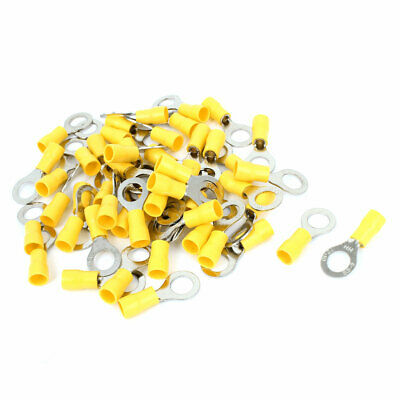 50 Pcs 8mm Hole Insulated Ring Crimp Terminal Connectors for AWG 12-10 Wire