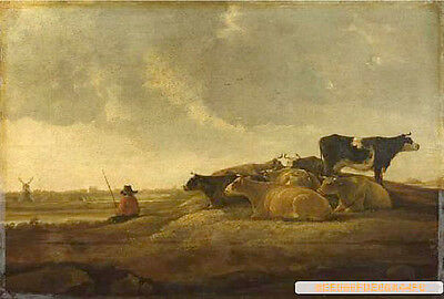 Fine oil painting Aelbert CUYP - The shepherd boy with his cows by sunset river