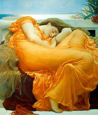 """Wonderful Oil painting portraits nice young lady in yellow sleeping in chair 36"""""""