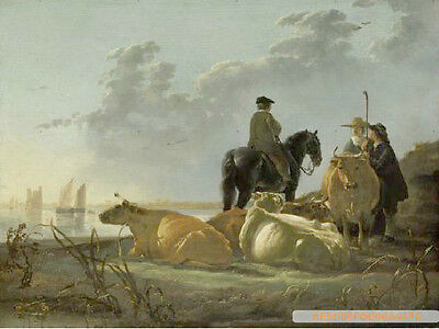 Fine oil painting Aelbert CUYP - farmer with cows horse by the river in sunset