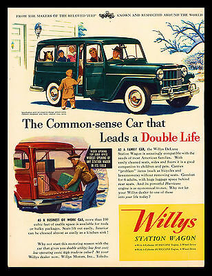 """Original 1954 """"willys Jeep Station Wagon"""" Family-Collie-Vintage Art Print Ad"""