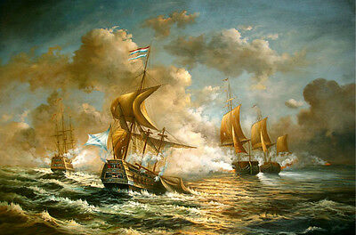 No framed Oil painting seascape Warships sail boats - Naval battle on ocean 36""