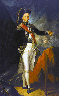 Oil painting male portrait Captain Horatio Nelson standing On the battlefield AA