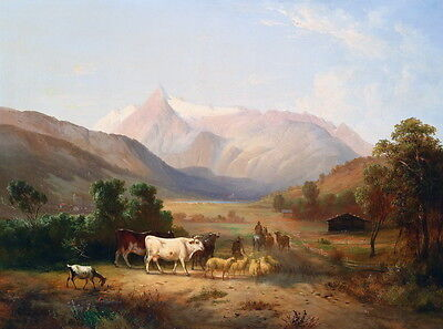Nice Oil painting shepherd with sheep cows horsemen in sunset landscape canvas