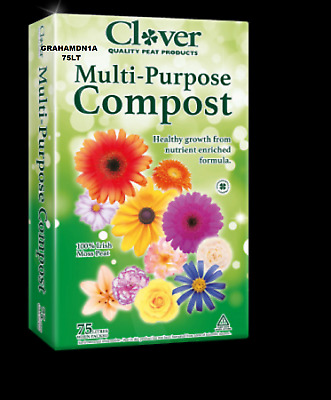 75Lt Bags Clover Multi-Purpose Peat Compost Enriched Formula + Wetting Agent,fp