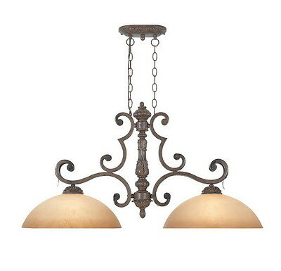 Venetian Bronze And Gold Chandelier/Island Light With Fresco Beige Glass