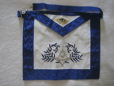 Free & Accepted Masons Past Master's Apron In Gold & Silver Bullion Embroidery