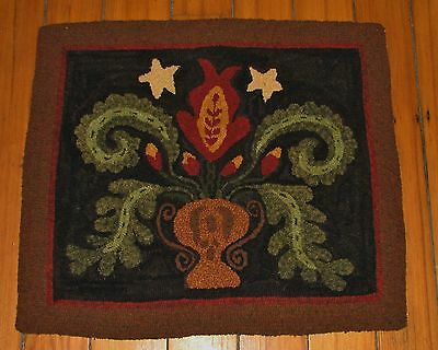 Primitive Hooked Rug Pattern On Linen ~ 1831 Antique Floral