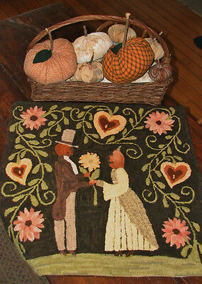 "Primitive Hooked Rug Pattern On Linen ""Autumn Romance"""