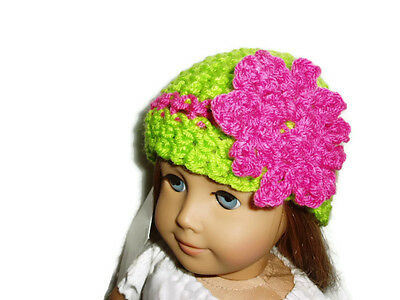 "Green Crochet Beanie Hat with Pink Flower 18"" Doll Clothes Fits American Girl"
