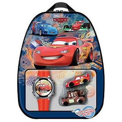 NEW Disney Cars LIGHTNING McQUEEN LCD Watch Puzzle Erasers Tin Backpack Gift Set