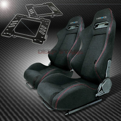 For 99-04 Mustang Sn-95 Mount/bracket+Nrg T-R Style Black Cloth Racing Seat X2