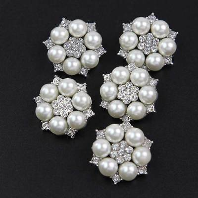 5 Pcs Faux Pearl Rhinestones Buttons Gold/ Silver Plated Flower Sewing  Buttons