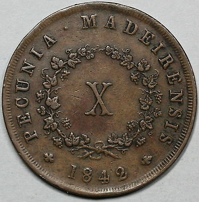 1842 MADEIRA ISLANDS Large Copper 10 reis Scarce Portugal Colony Coin