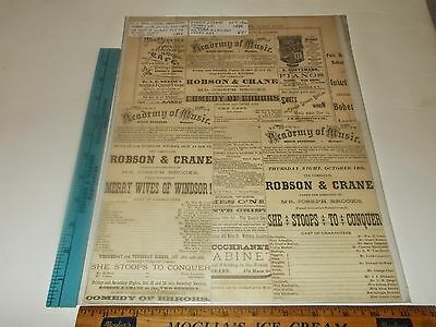Rare Original VTG 1886 Robson & Crane Academy of Music Advertising Art Print