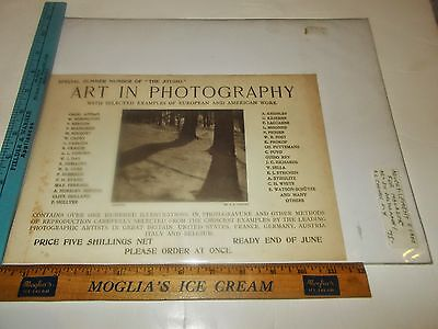 Rare Original VTG c1900 Magazine A L Coburn Art in Photography Advertising Print