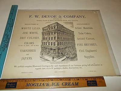 Rare Antique Orig 1885 F W Devoe Fulton & William St NYC Advertising Art Print