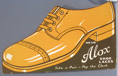 AUTHENTIC ALOX SHOE LACES CARDBOARD DIE CUT OLD SIGN * GIANT SHOE FREE SHIP AD33
