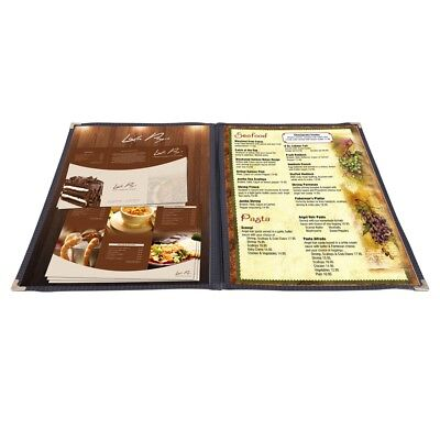 30pc Menu Cover 8.5x14 2 Page 4 View Double Fold Black Trimmer PVC Deli Food