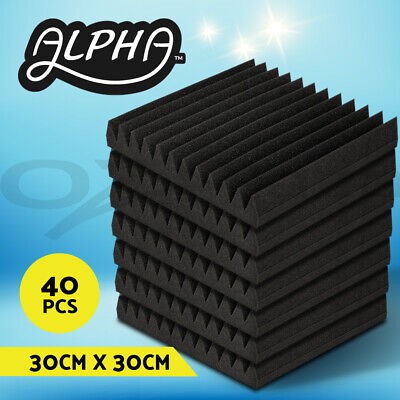 40pcs Studio Acoustic Foam Sound Absorption Proofing Panel Wedge 30X30CM Black