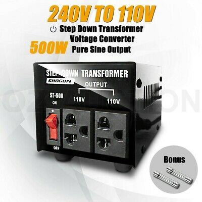 500W Step Down Transformer & Voltage Converter With Output 2 Plugs
