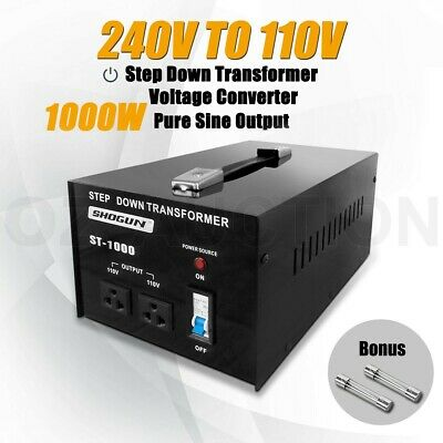 1000W 240V to 110V Step Down Stepdown Transformer Voltage Converter 2 Plugs