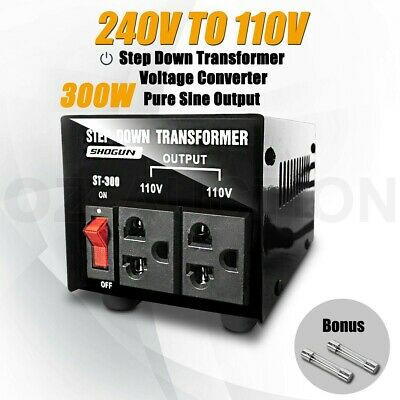 300W Step Down Transformer & Voltage Converter With Output 2 Plugs