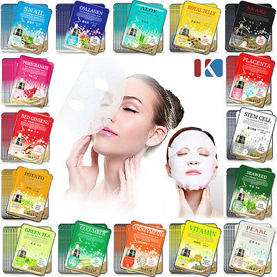 42 PCS Korean Essence Facial Mask Sheet, Moisture Face Mask Pack Skin Care Lots