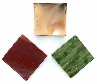 Three 20mm to 22mm Square Agate Jade Preform Cab Cabochon Gem Slab Rough US54
