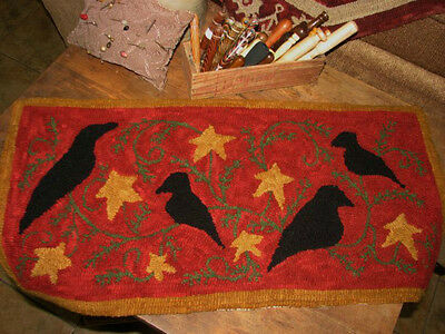 """Primitive Hooked Rug Pattern On Linen """"Christmas Crows"""""""