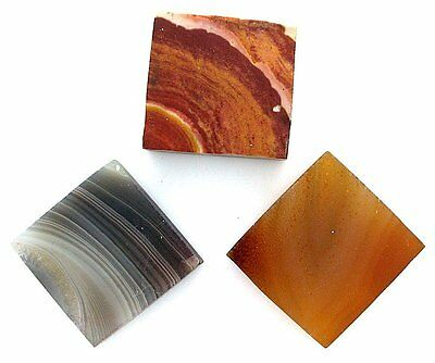 Three 20mm to 22mm Square Agate Jasper Preform Cab Cabochon Gem Slab Rough US55