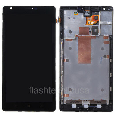 US Black Nokia Lumia 1520 LCD Dispaly Touch Screen Digitizer Assembly w/ Frame