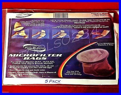 Pool Blaster Micro Filter Bags Pack/ 5 Free Ship USA Fits Max Cleaner Vacuum