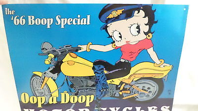 2000 King Features '66 BOOP Special Betty Boop on Motorcylcle Metal Sign