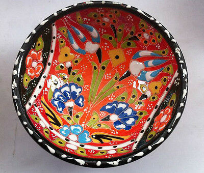 Turkish Kutahya Tile Bowl Porcelain Ottoman Arts 12 cm Embossed  Handmade-68