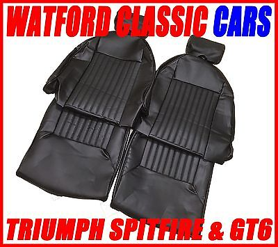 Triumph Spitfire & GT6 Seat Covers Black Vinyl with headrest covers PAIR