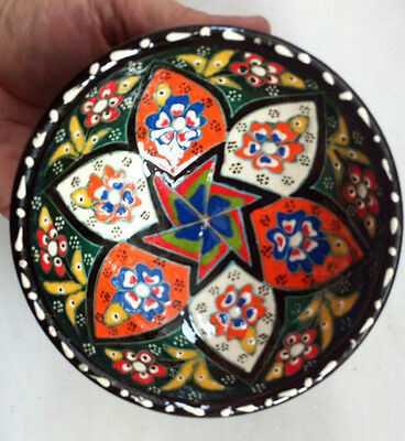 Turkish Kutahya Tile Bowl Porcelain Evil Eye Art 12 cm Embossed  Handmade-77
