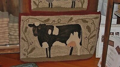 Primitive Hooked Rug Pattern On Linen ~ Farm Friends Series: Cow