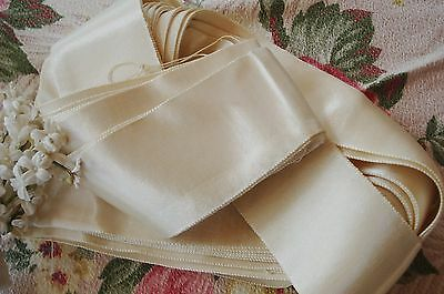 """1y VINTAGE FRENCH 3"""" THICK SILKY SATIN RAYON RIBBON TRIM HAT ANTIQUE WEDDING NOS"""