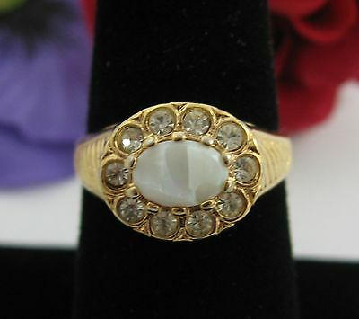 Chipped Genuine OPAL & Rhinestone RING Vintage 18KT Gold Electroplated Size 8