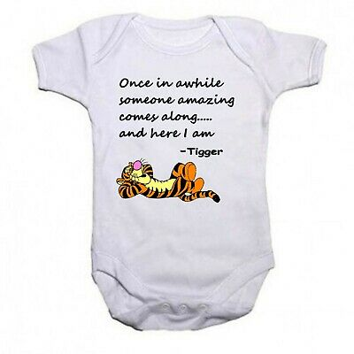 Tigger Beautiful Quote Funny Babygrow Baby vest Bodysuit Gift Present Boys Girls