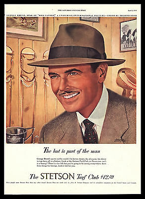 b4f60472f662 Original 1949 Stetson Hats George Brent Men s Fashion Vintage Art Print Ad