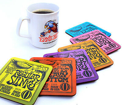 6 x Ernie Ball Drinks Coasters Guitar Gift Slinky Regular Super Power Skinny