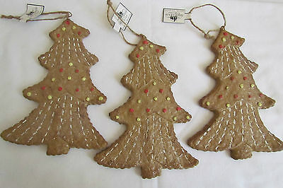 Gingerbread Tree Ornament  Ragon House 3pc set Primitive style NEW Christmas