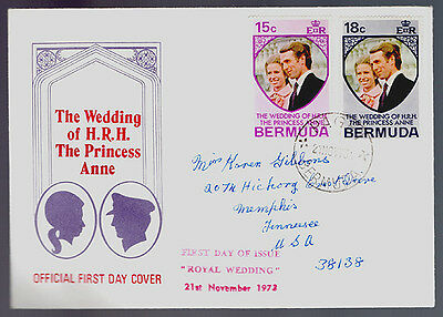 First Day Cover~ROYAL WEDDING~Princess Anne~1973~2 Bermuda Stamps~FDC Cachet