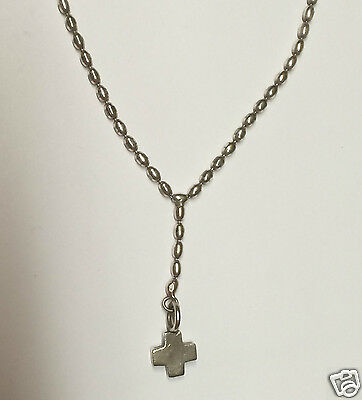 Sterling Silver 925 Catholic Rosary Bead Necklace - 10 inch - with Small Cross