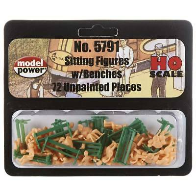 NEW Model Power Unpainted Sitting Figures w/Benches (72) HO 5791
