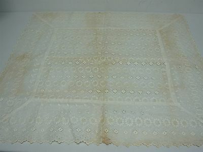 "Antique Linen With Embroidery & Eyelet Flat Pillow Cover 29.5"" X 28"""