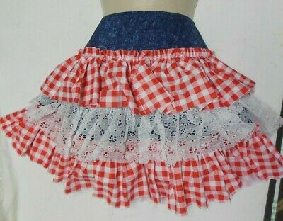 NEW COUNTRY WESTERN DANCE CLOGGIN  Ruffled Skirt w/ attached trunks Lace Gingham